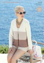Sirdar Cotton DK Knitting Pattern - 7215 Woman's 3-Tiered V Neck Cardigan